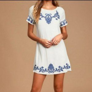 Tale to Tell Blue/ Ivory Embroidered Shift Dress